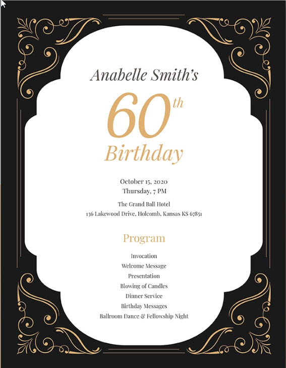 60th Birthday Program Template