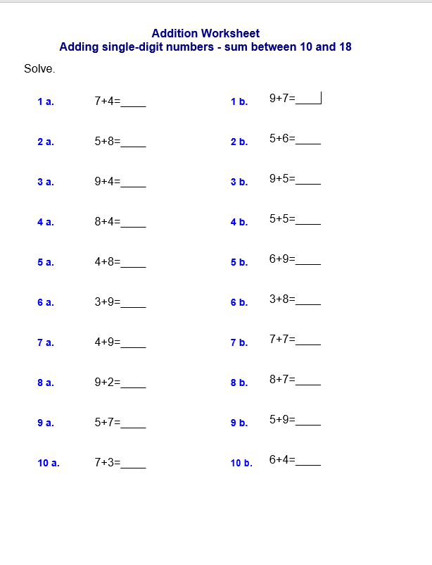 Adding single-digit numbers - sum between 10 and 18