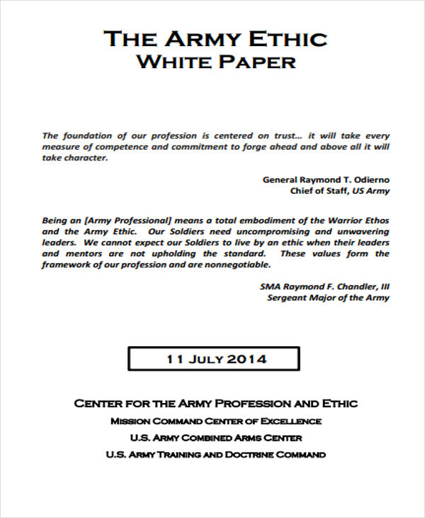 Army Ethics White Paper