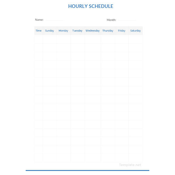 Blank Hourly Schedule Template