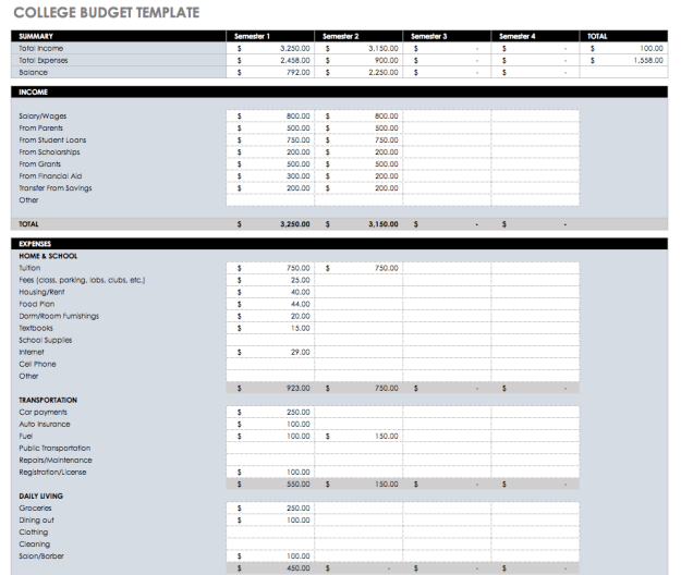 College Student Budget Excel Template