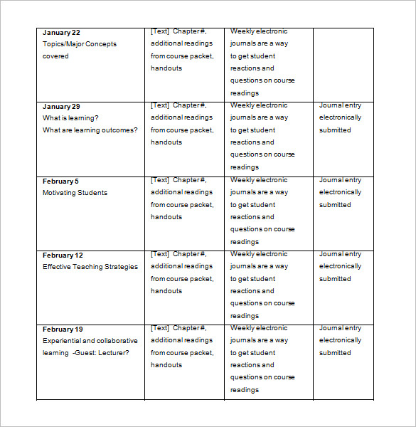 Download College Class Syllabus Schedule Template Word Format