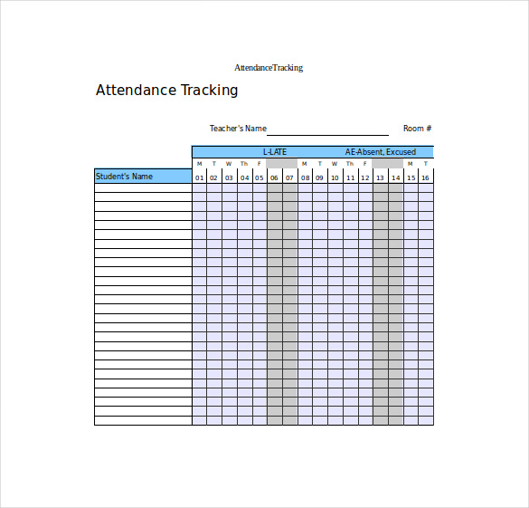 Excel Formart of Attendance Tracking Template Download
