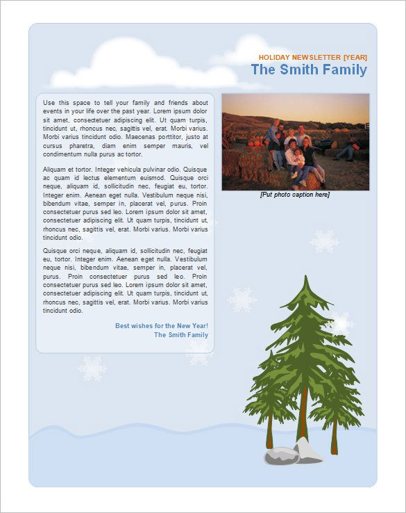 Family Holiday Newsletter Template