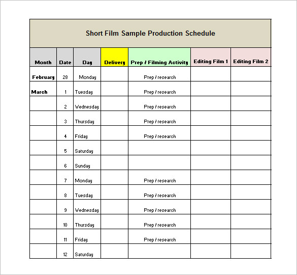 Film Production Schedule Template Download