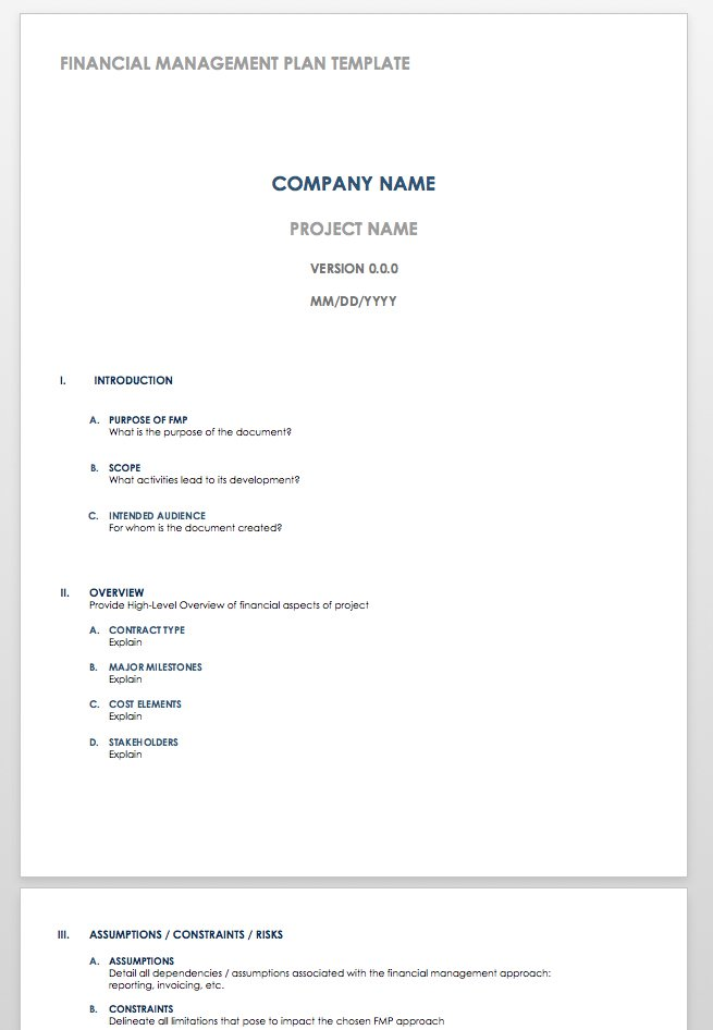 Financial Management Plan Word Template