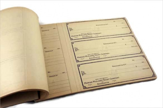 Large Book of Antique Blank Checks