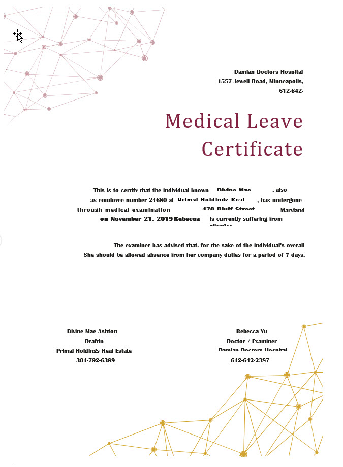 Medical Leave Certificate Example