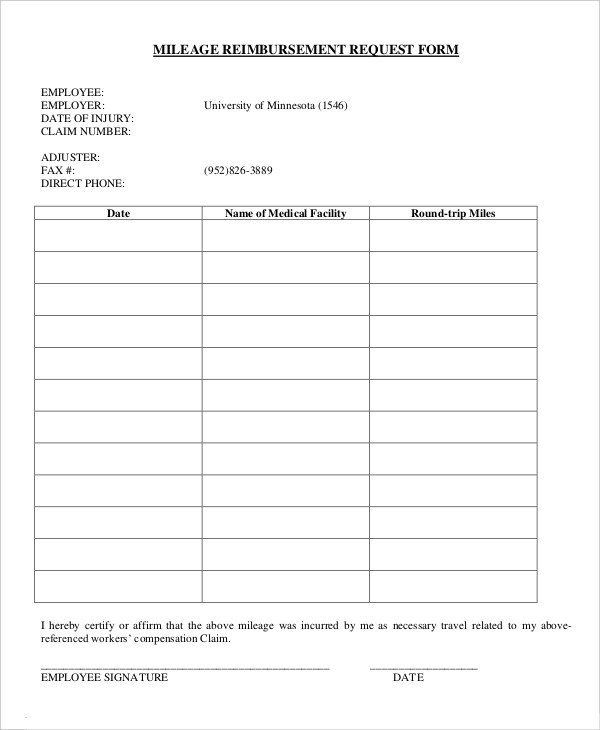 Mileage Reimbursement Request Form