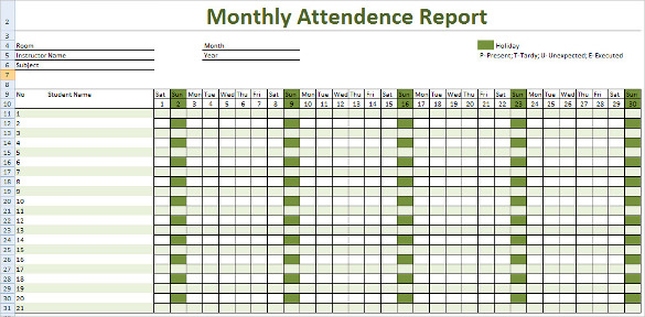 Monthly Attendance Report Tracking Template Download