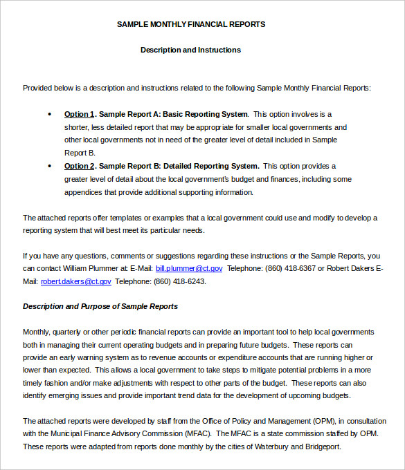 Monthly Financial Report Template Word Format Download