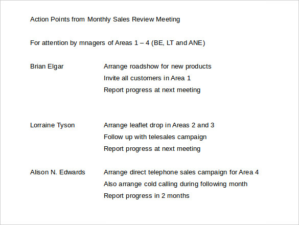 Monthly Sales Review Meeting Template Download