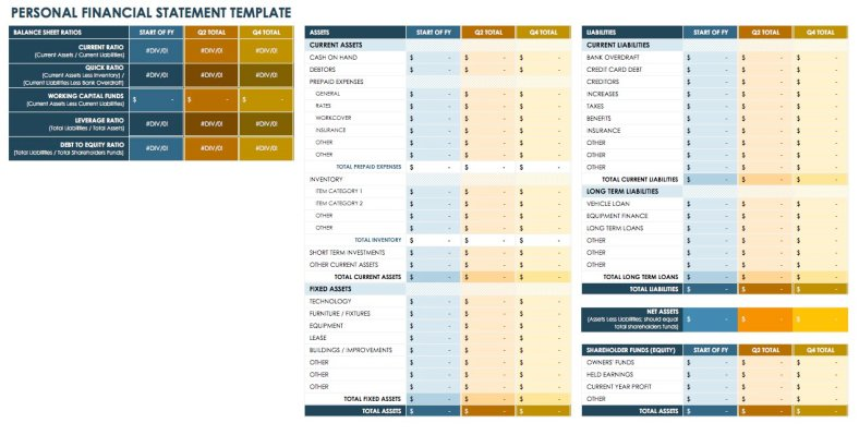 Personal Financial Statement - Excel Template