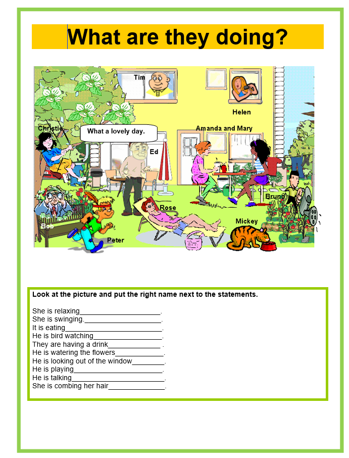 Present Continuous - What are they doing? Worksheet Template