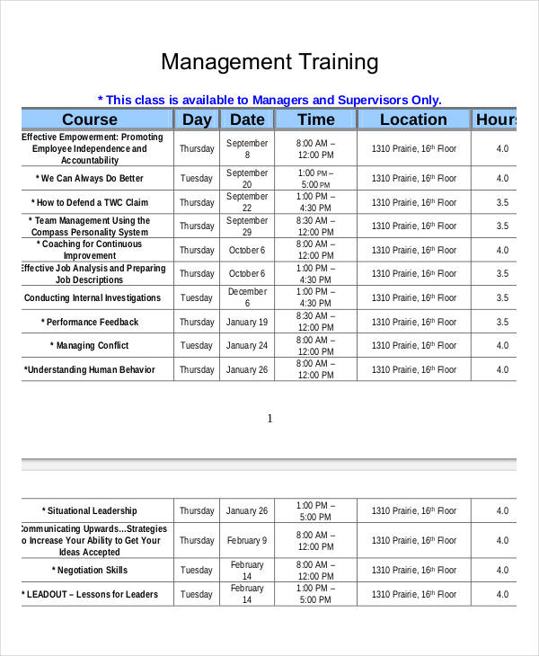 Printable Employee Training Schedule Template
