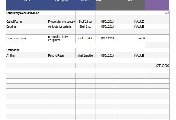 Stock Inventory Control Spreadsheet Sample Example Format