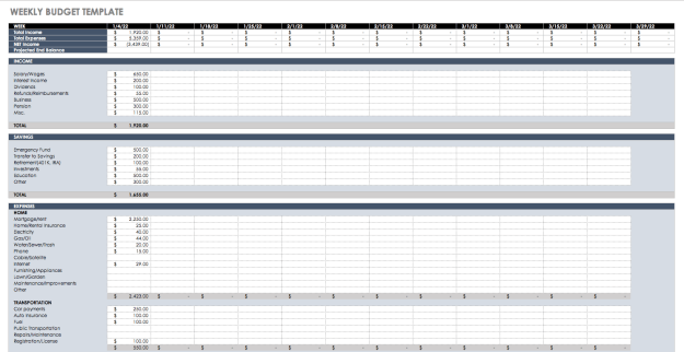 Weekly Budget Planner Excel Template