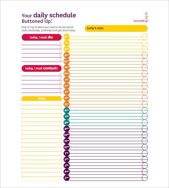 Your Daily Hourly Schedule Form 24 hours