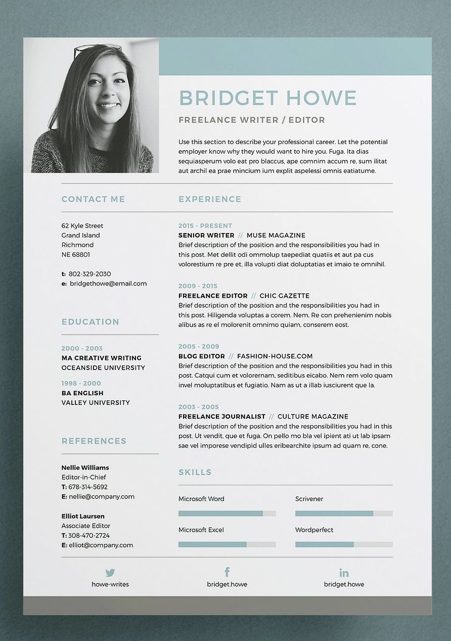 Resume CV Template Brid a professional pact design with matching cover letter for those looking for a high impact presentation Everything is editable including fonts and colors so be sure to personalize to suit your needs Move and duplicate elements and make the design your own