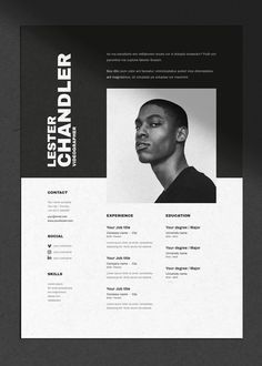 CV Resume template with cover letter for Word Indesign & shop A4 US Letter