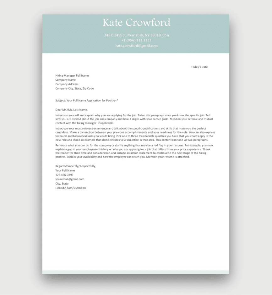 Cover Letter Template Download for Free