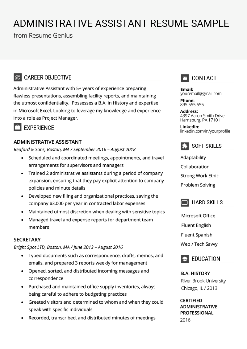 Administrative Assistant Resume Example & Writing Tips
