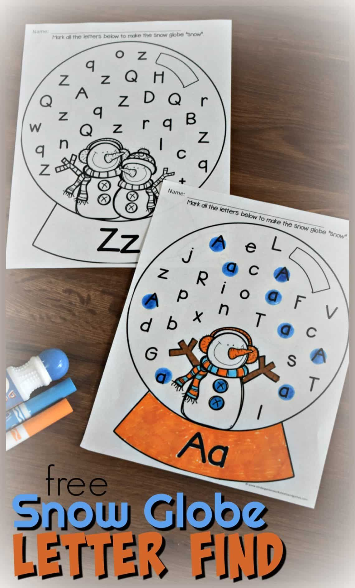 Alphabet Worksheets Christmas Of Free Snow Globe Letter