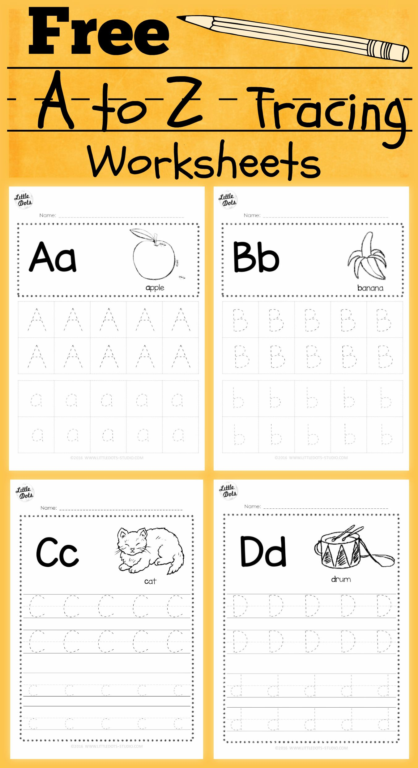 Download free alphabet tracing worksheets for letter a to z suitable for preschool pre k or kindergarten class There are two layouts available tracing with lines or free form tracing with boxes Visit us at for more preschool activities