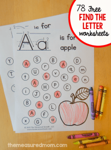 """Alphabet Worksheets Learning Of Free """"find the Letter"""" Alphabet Worksheets the Measured Mom"""