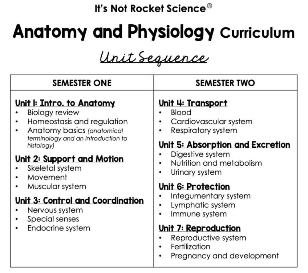 Anatomy and Physiology Scope and Sequence It s Not Rocket Science