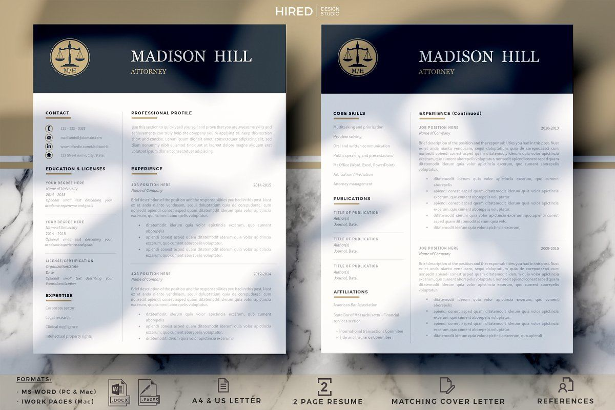 Ad Attorney Resume template Lawyer CV by HIRED Design Studio on creativemarket ★★★★★ Wel e to Hired Design Studio MADISON HILL Attorney Resume template for Word or Mac Pages