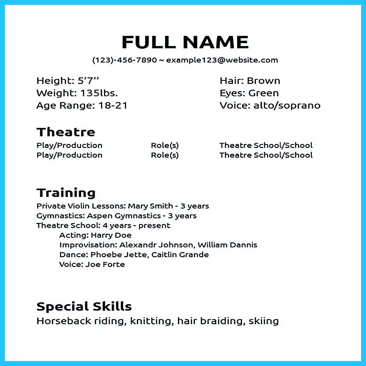 Actor resume sample presents how you will make your professional or beginner actor resume The acting resume format can be in simple order as you will actor resume no experience