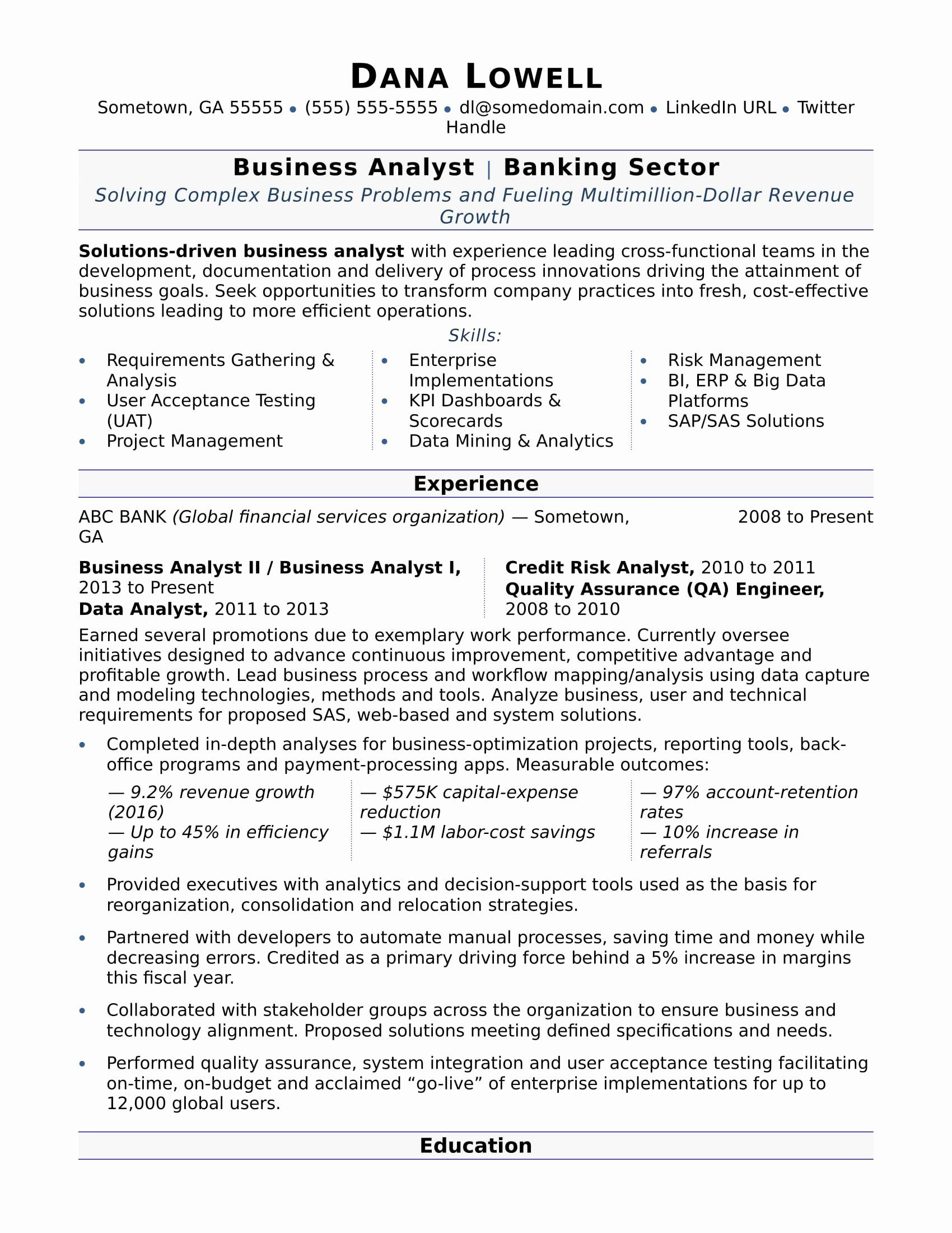 Business Analyst Resume Summary Examples Unique Business Analyst Resume Sample