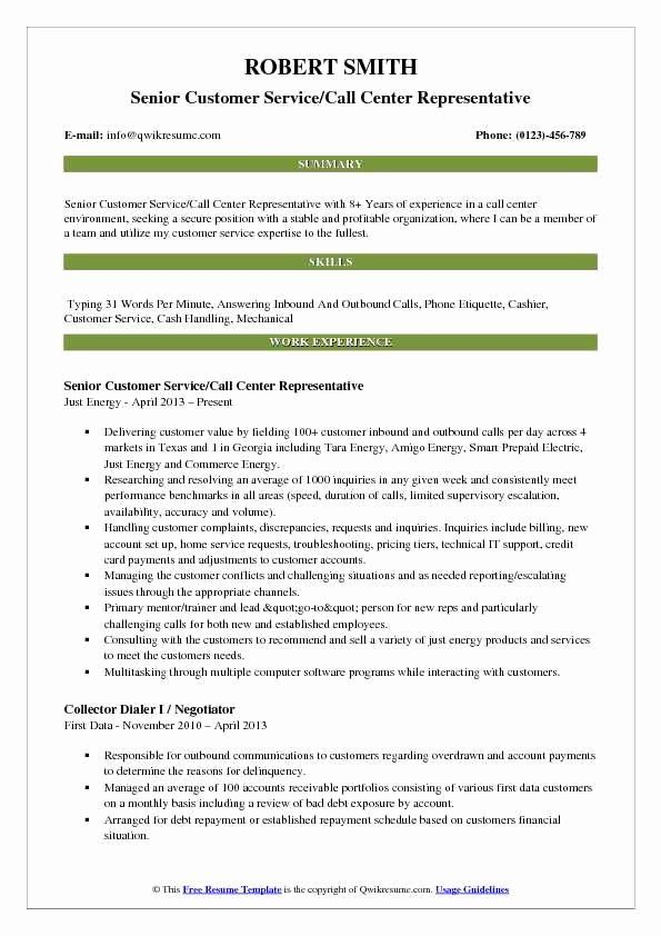 Customer Service Call Center Resume Lovely Customer Service Call Center Representative Resume Samples