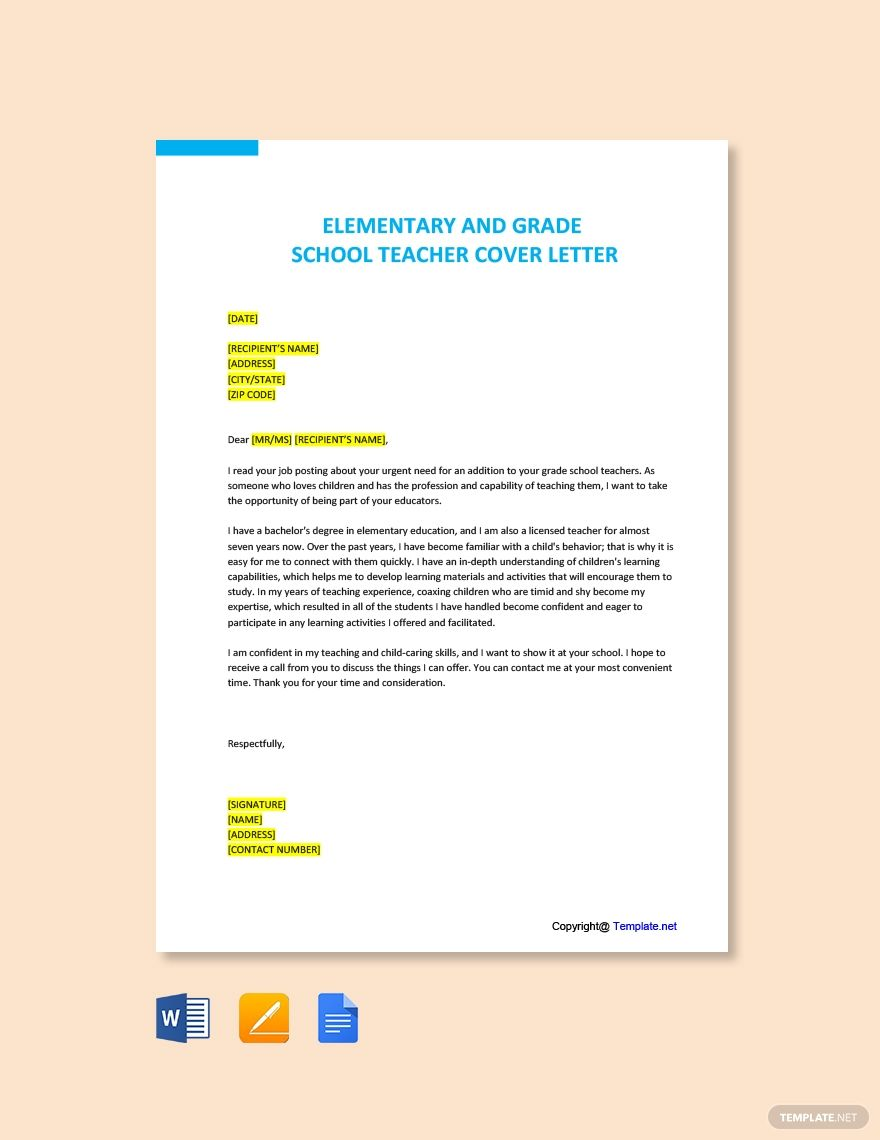 FREE Elementary and Grade School Teacher Cover Letter Template Word DOC Apple MAC Pages