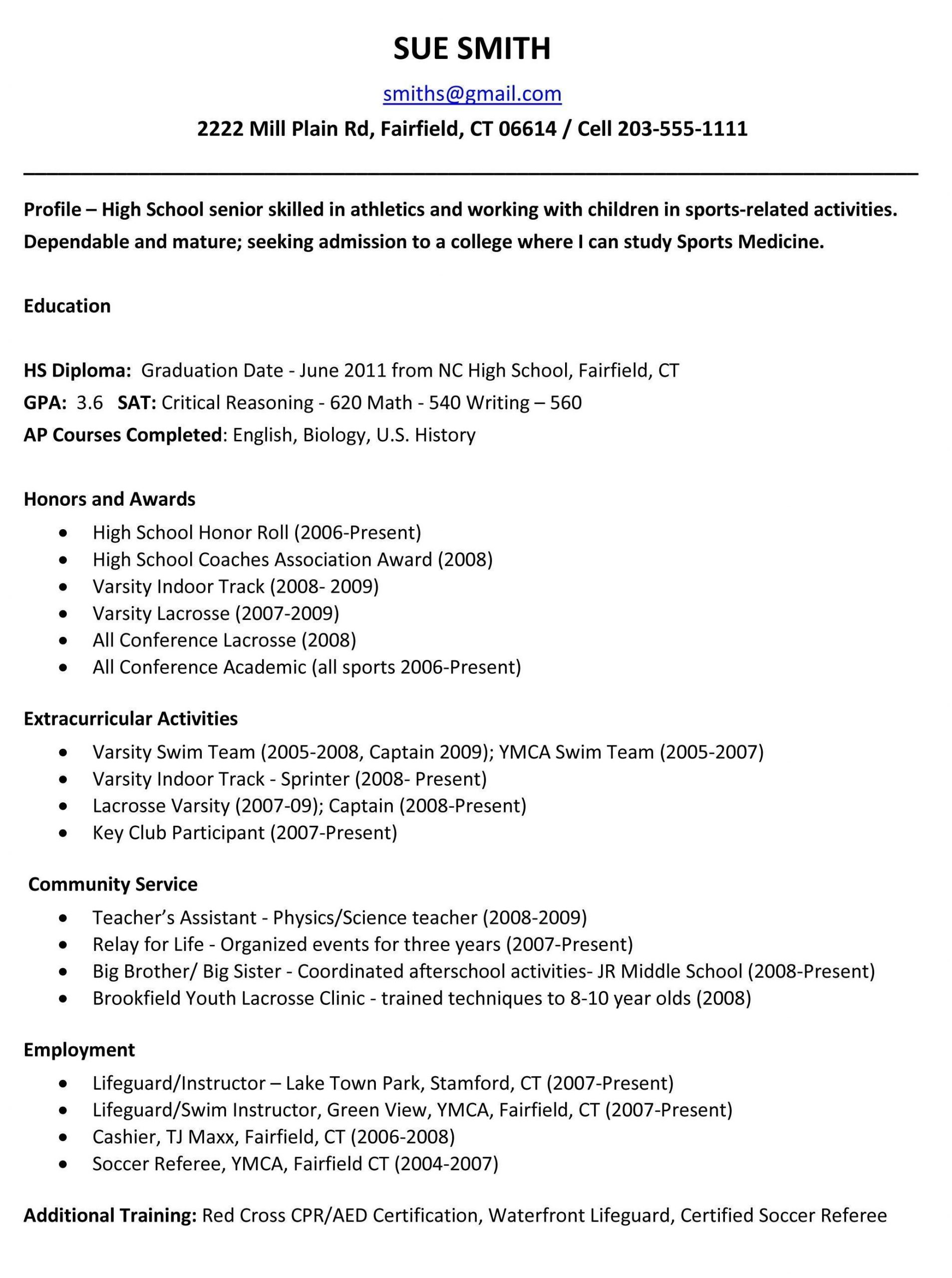 College Students Resume Samples High Quality Example Resume for High School Students for Coll