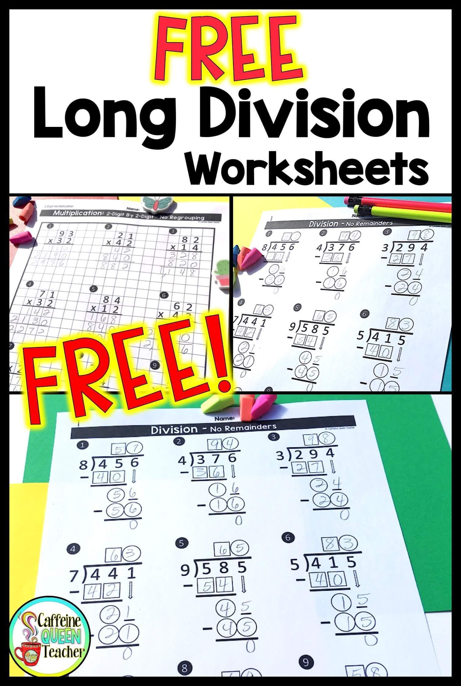 Division Worksheets Grade 5 Of Differentiated Long