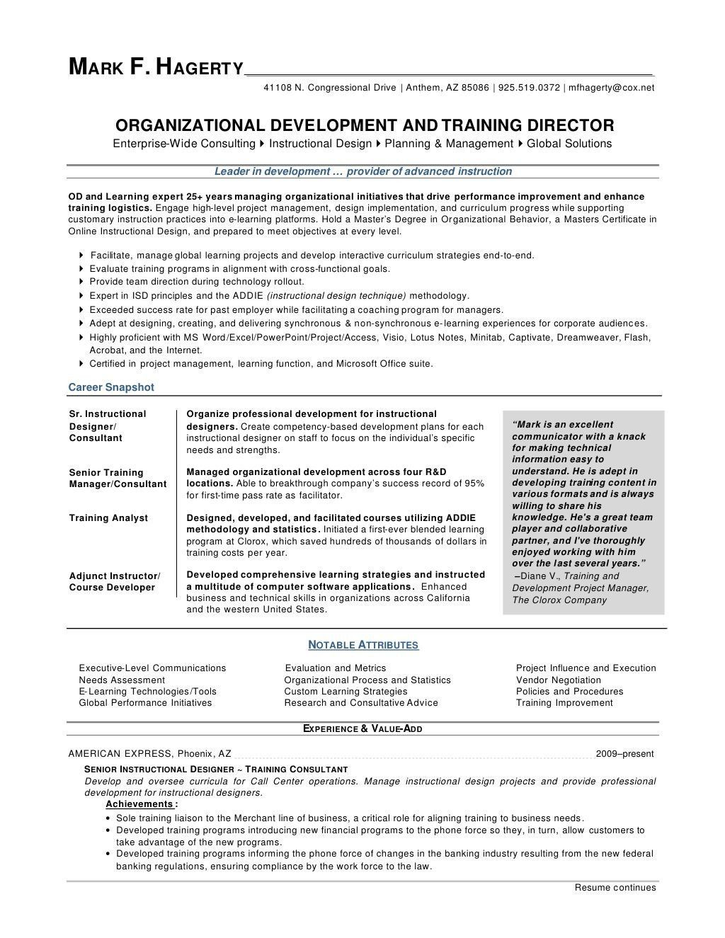 Leadership Skills Examples for Resume Mark F Hagerty Od Training Director Resume by Mfhagerty Via