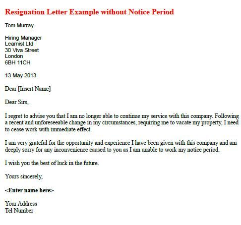 Resignation Letter Example Without Notice Period Learnist