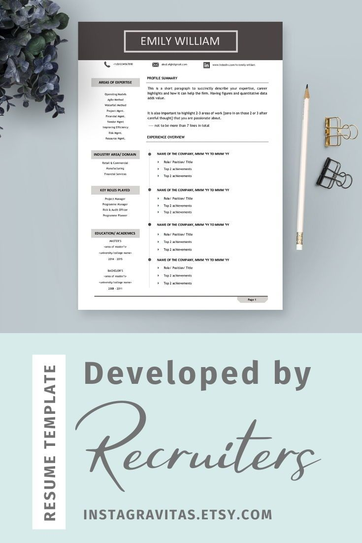 Professional resume template Minimal resume one page Modern resume service CV template