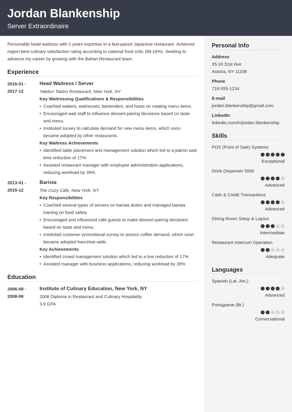 food service resume example template cubic