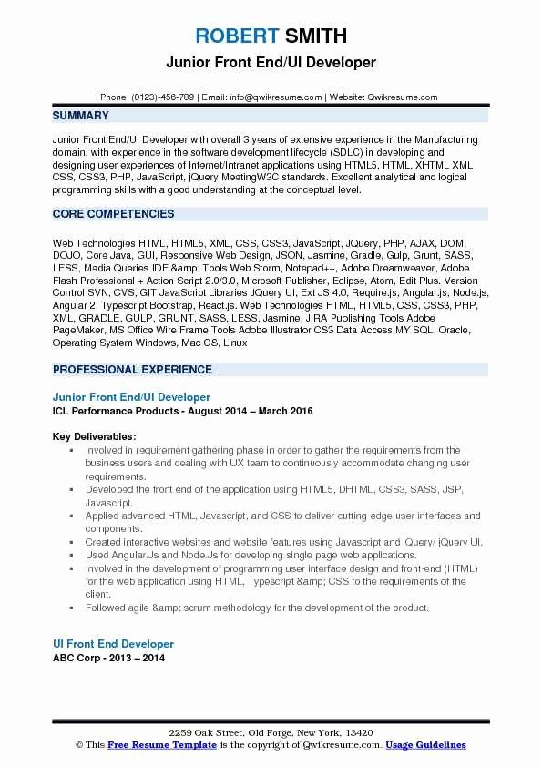 Front End Developer Resume Template Inspirational Front End Ui Developer Resume Samples