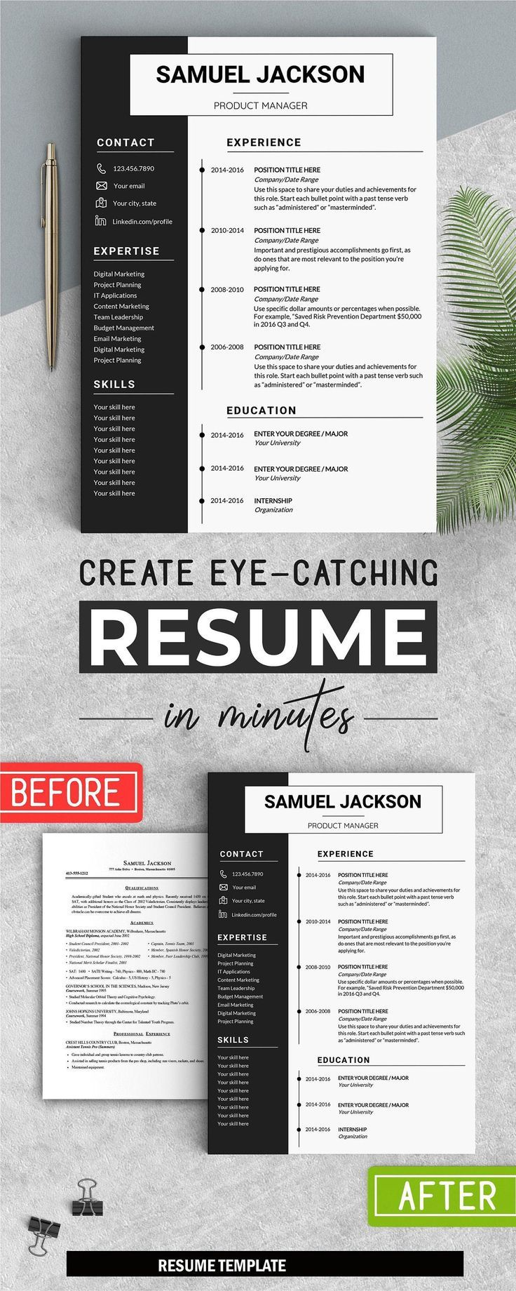 Professional Resume Instant Download CV WORD Cover letter 1 page resume Cover letter Editable i
