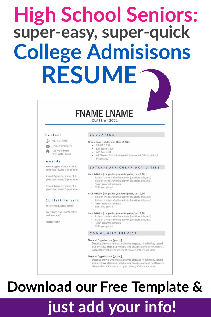 Free Download Resume Template for Counselor Re mendations and College Admissions