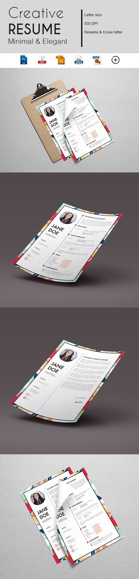 CV Templates Best Modern Resume Design Bundle e Page Editable Resumes with Cover Letter Instant Download