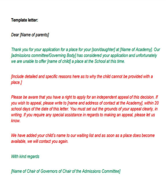 College rejection letter, rejection letter for a proposal