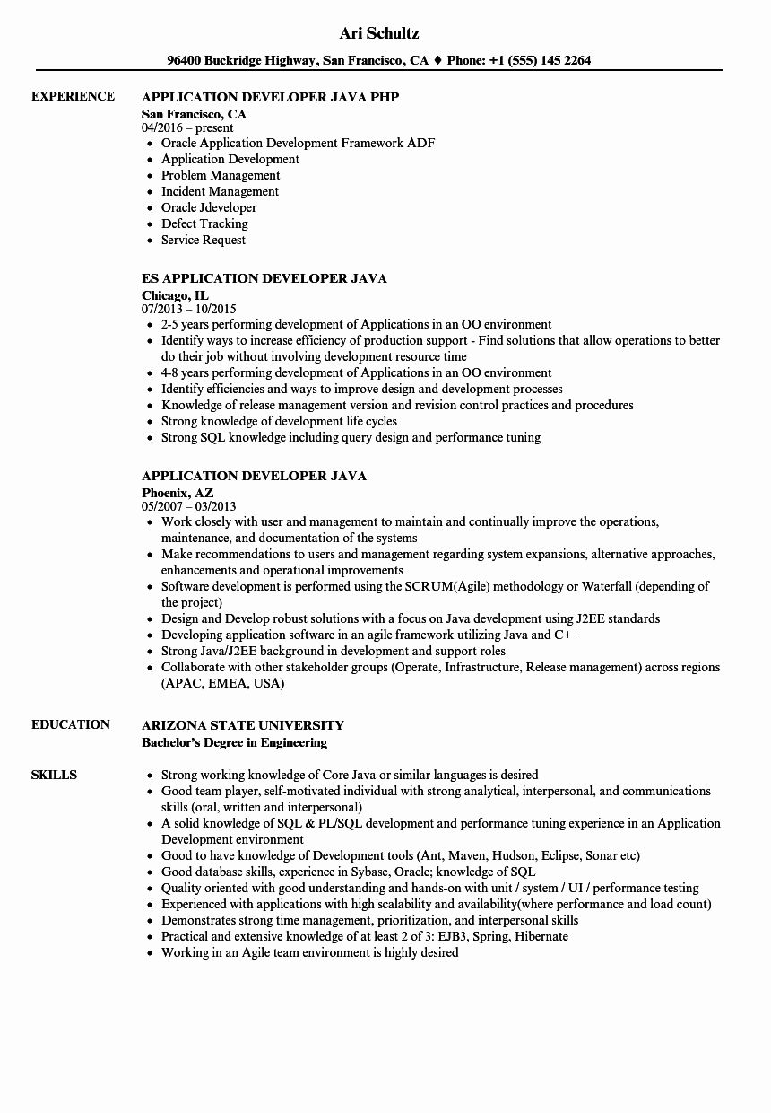 Java Production Support Resume Luxury Application Developer Java Resume Samples