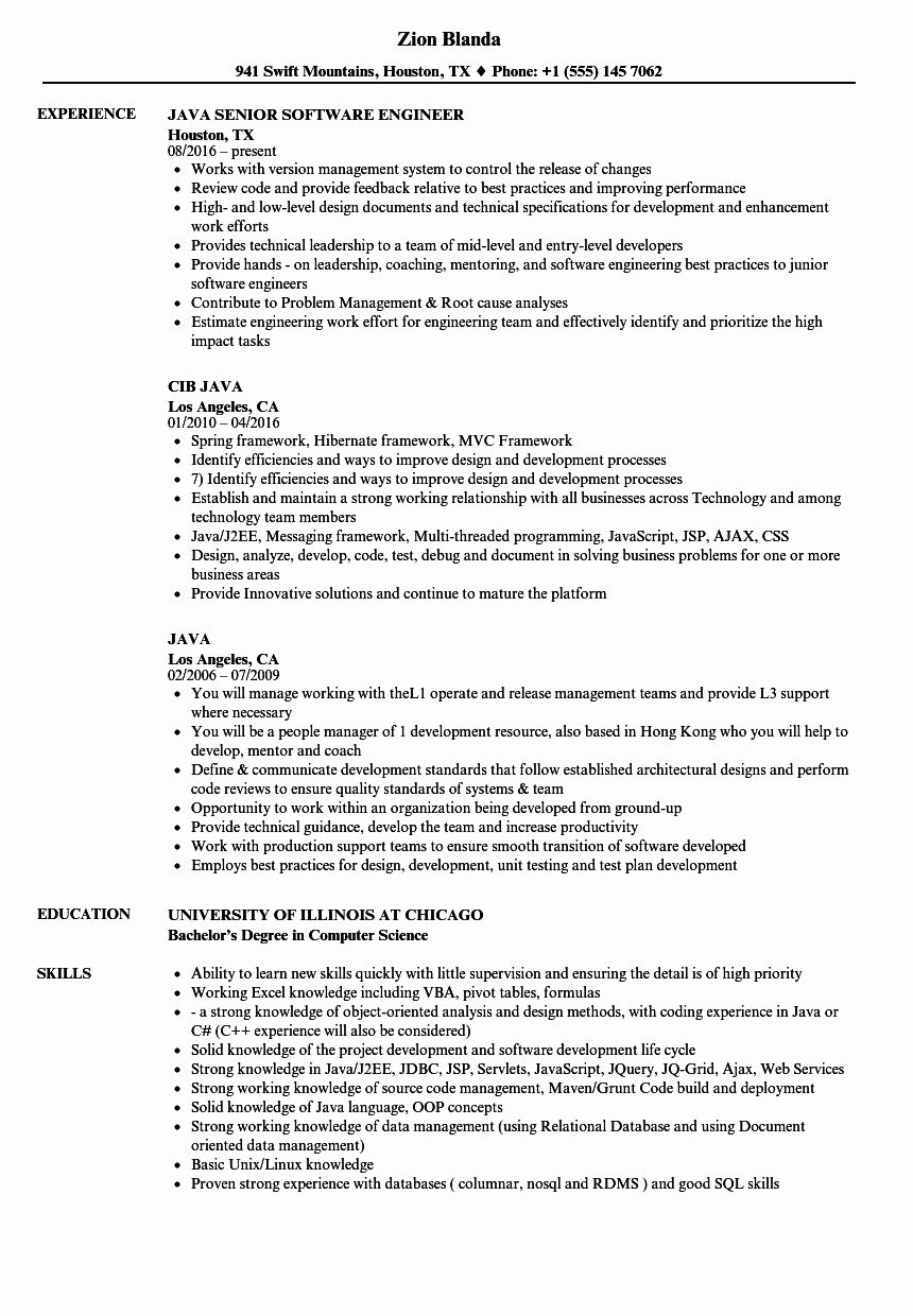 Java Production Support Resume Luxury Java Resume Samples