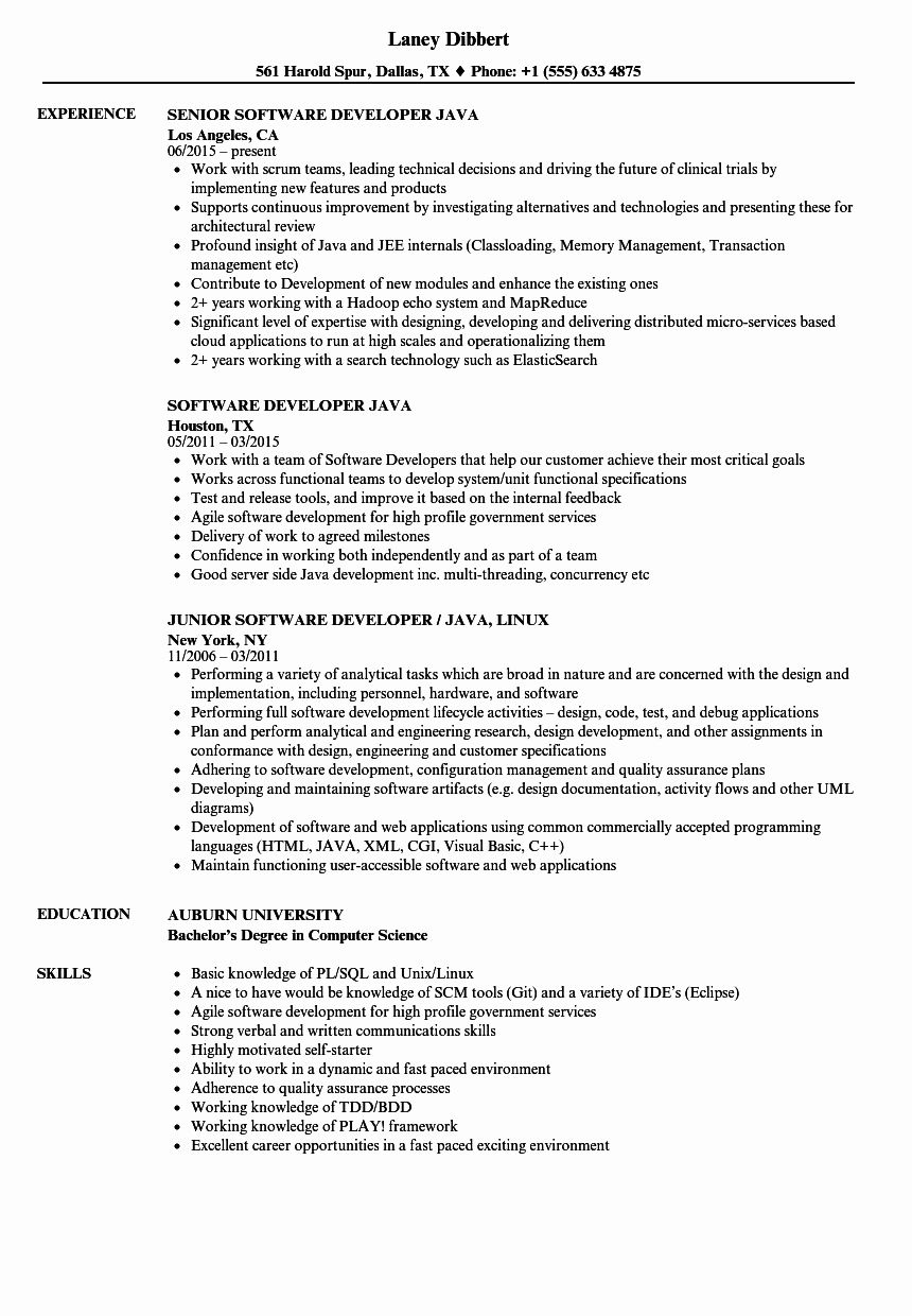 Java Ui Developer Resume Elegant software Developer Java Resume Samples