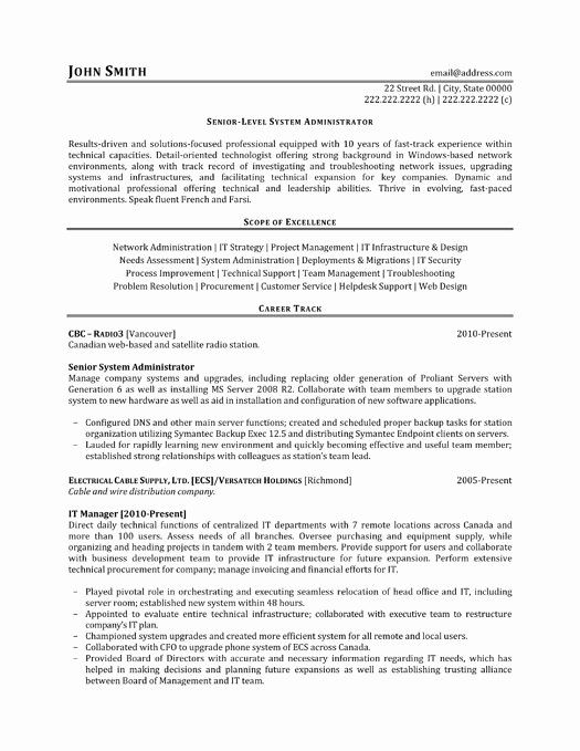 System Administrator Resume Examples Awesome Senior System Administrator Resume Sample & Template